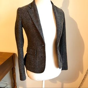 Gray tweed business blazer jacket with button